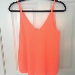 Everly Neon Coral double v-neck tank Size L